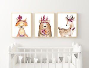Girl-Woodland-Nursery-or-Bedroom-Wall-Art-Decor-Print-Set-3-for-2-Baby-Gift