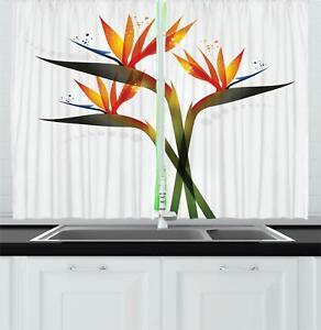 Spring Flower Kitchen Curtains 2 Panel Set Window Drapes 55 X 39 Ambesonne Ebay