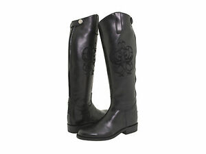 Frye-Womens-Riding-Back-Zip-Logo-Knee-High-Tall-Equestrian-Embroidered-Boots