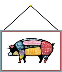 Pork Cuts Motif 2 Pig Shield with Cord Metal Tin Sign 20 X 30 CM FA0582-K