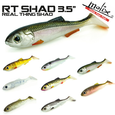 "Select Color Molix RT Shad Soft Plastic 3.5/"" Soft Plastic Swimbait 5pk"