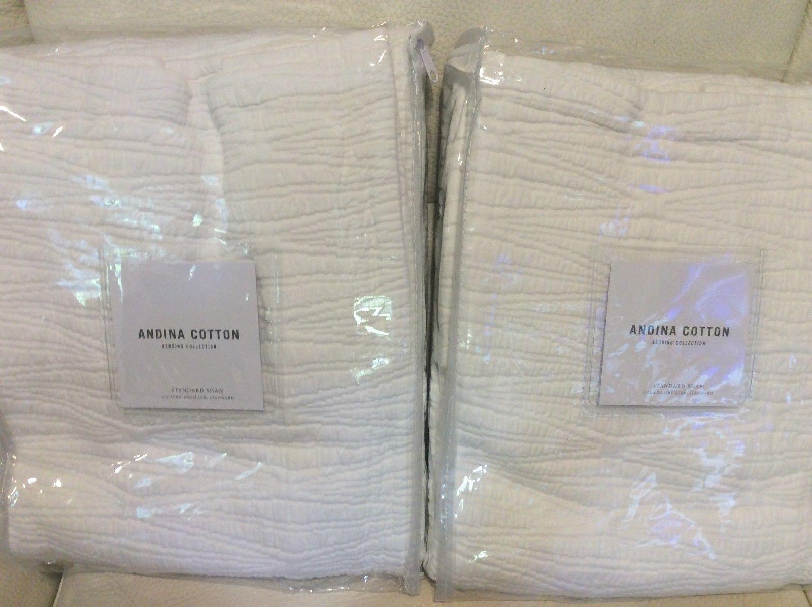 Restoration Hardware Two (2) Andina Cotton Matelasse Std Shams Weiß NWT