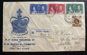 1937-Hong-Kong-First-Day-cover-FDC-Coronation-Of-king-George-VI-KGVI-To-USA