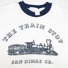 VINTAGE THE TRAIN STOP SAN DIMAS CALIFORNIA RAILWAY RINGER TEE T SHIRT Sz Mens L