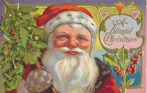 c1910-Big-Santa-Claus-with-Tree-034-A-Blissful-Christmas-034-Embossed-Postcard