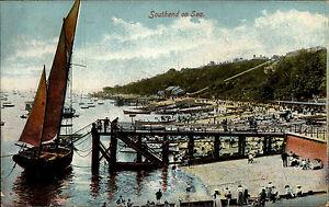 Southend-on-Sea-England-Essex-AK-1910-Harbor-Hafen-Port-Segelschiff-Sailing-Ship