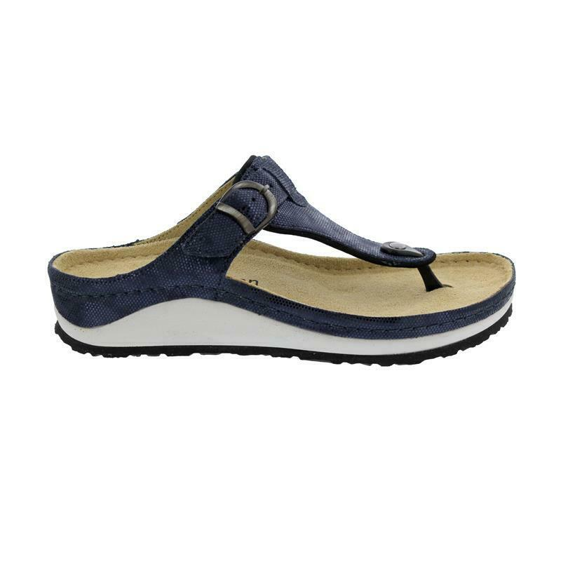 Berkemann mila, Blu premute Shiny pelle, dita dei piedi STEG Sandali, Larghezza G 1351-303