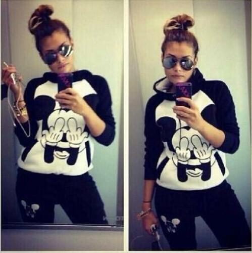 2Pcs Womens Mickey Tracksuit Hoodie Sweatshirt Tops Pants Set Sport Sweat Suits