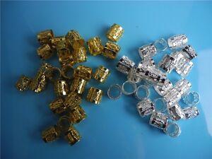 100 pcs gold silver mixed dreadlock Beads dread hair braid cuff tube clip 8mm