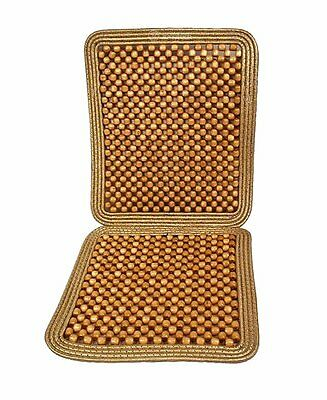 Zone Tech Natural Wooden Beaded Massage Seat Cushion Car Chair Cover Tan