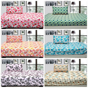 Dream Decor 100% Cotton Single Bed sheet with 1 pillow covers- (55X85) Inch