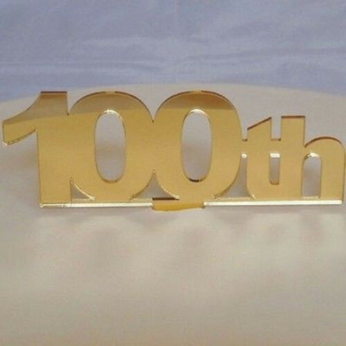 100th Birthday Cake Topper Mirrored Gold