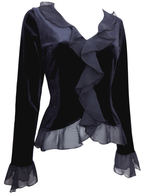 Karida Gothic BLACK Velvet Bell Sleeve Frill Top PARTY / OCCASION Size 10 to 18