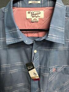 NWT-Penguin-Mens-Short-Sleeve-Button-Down-Shirt-Size-2XL-Blue-Striped