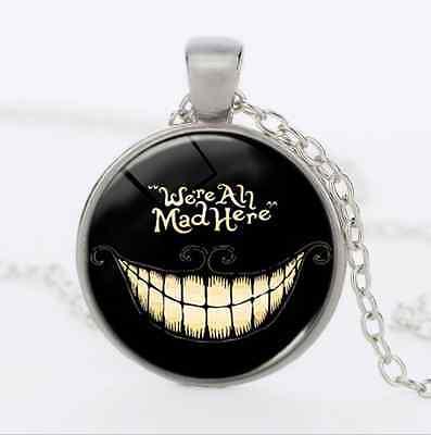 Vintage Halloween Cabochon Tibetan silver Glass Chain Pendant Funny Necklace JYL