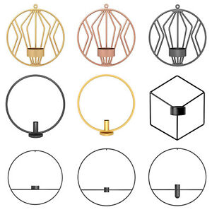 Geometric-Metal-Candle-Holder-Round-Candlestick-Wall-Mount-Decor-Wedding-Sconce