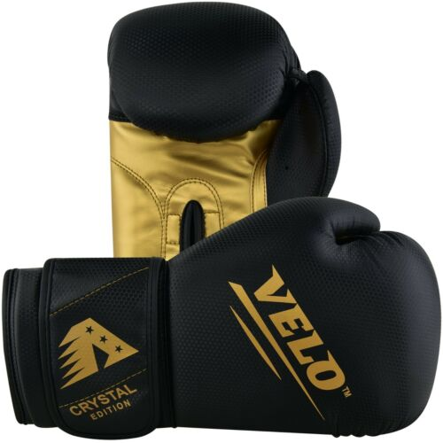 Velo Crystal in Pelle Guantoni Da Boxe Combattere Punch Kickboxing Muay Thai Sparring