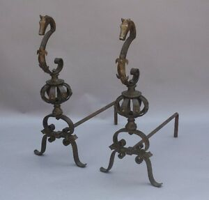 Fabulous Details About Pair 1920S Seahorse Andirons Oscar Bach Style Antique Fireplace Tools 9568 Download Free Architecture Designs Aeocymadebymaigaardcom