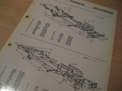Volkswagen Transporter T2  bis8//71 und ab 8//71  Maßplan Bodengruppe