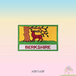 BERKSHIRE-UK-County-Flag-With-Name-Embroidered-Iron-On-Patch-Sew-On-Badge
