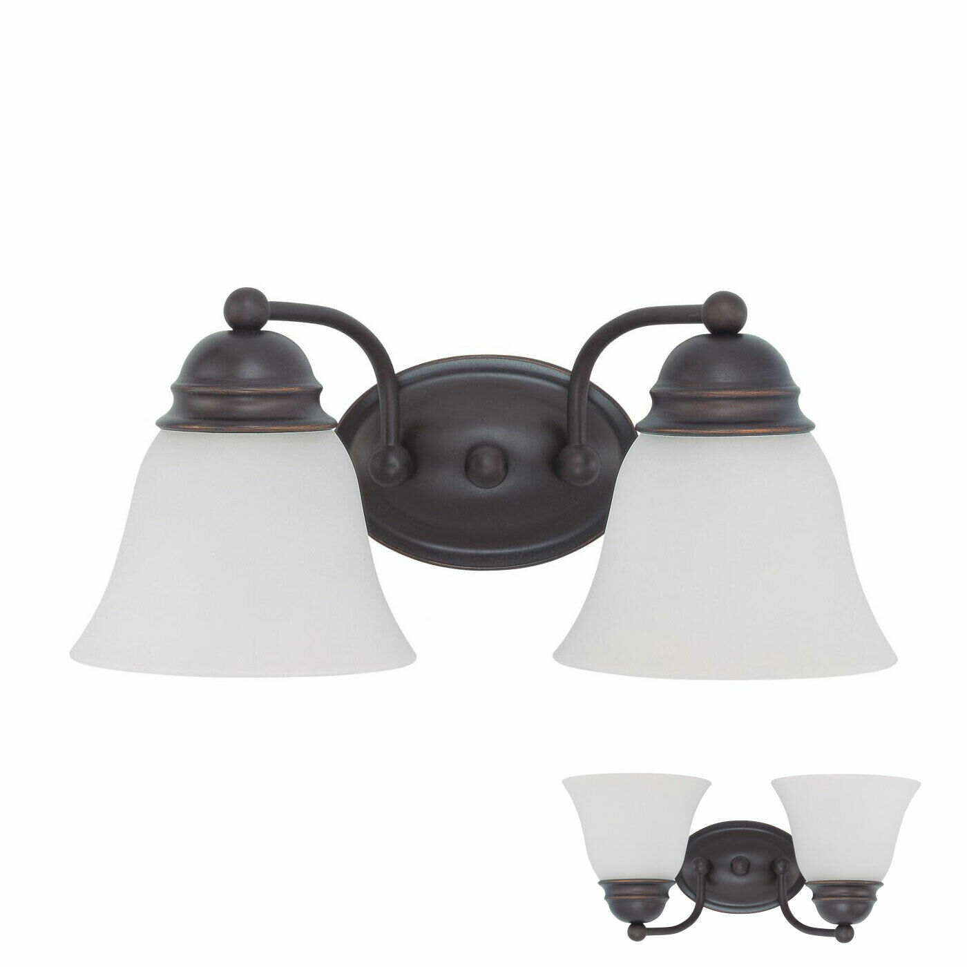 2 Bulb Bathroom Vanity Light Fixture With Glass Globes Oil Rubbed Bronze For Sale Online Ebay