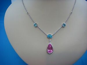 STUNNING-LARGE-PINK-TOPAZ-WITH-3-BLUE-TOPAZ-14K-WHITE-GOLD-NECKLACE-10-6-GRAMS