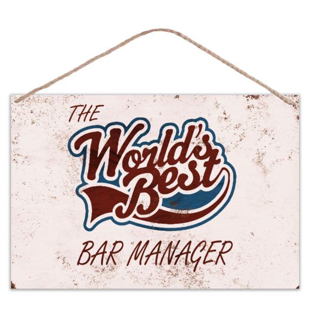 The Worlds Best Bar Manager - Vintage Look Metal Large Plaque Sign 30x20cm