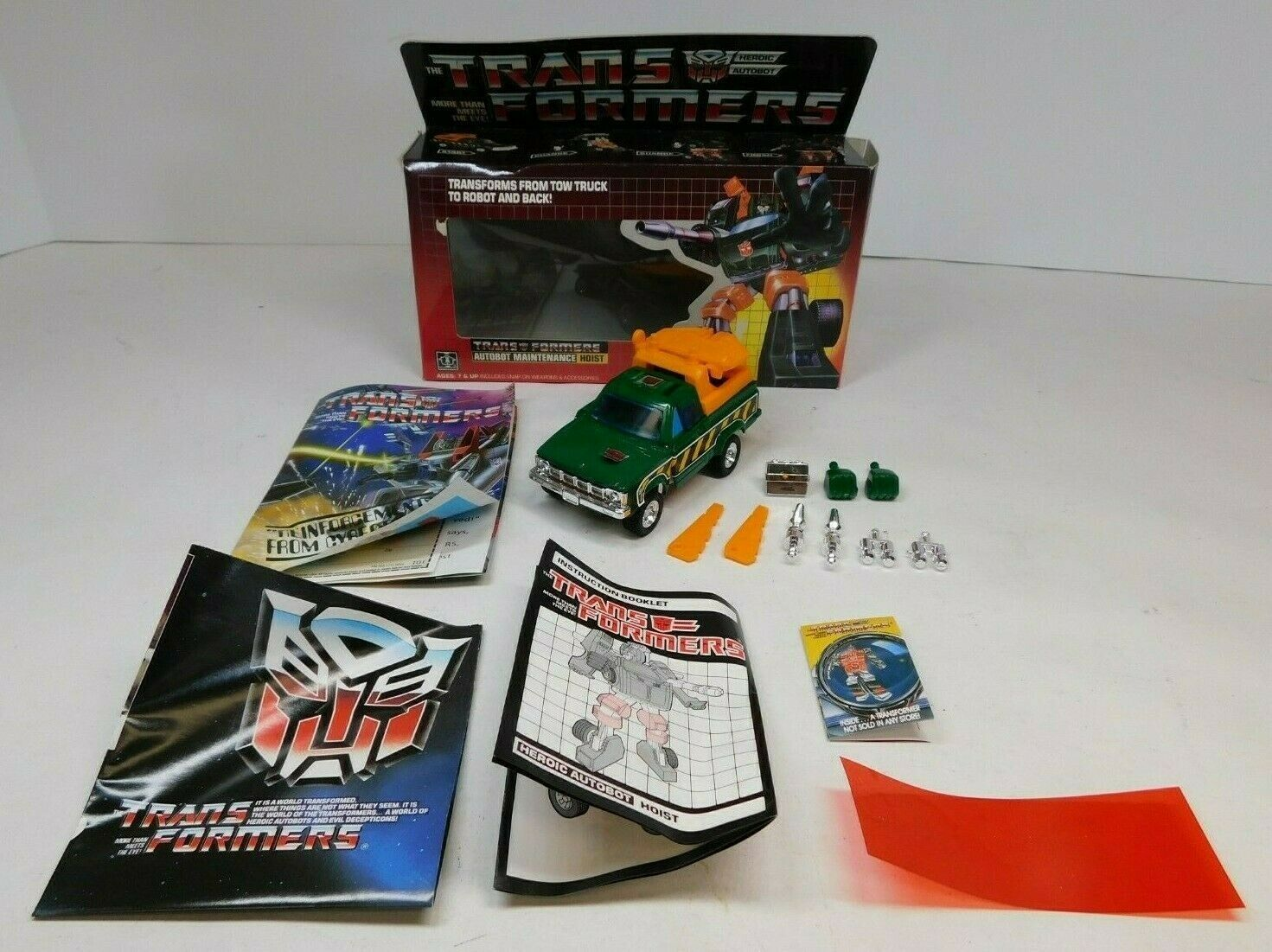 TRANSFORMERS G1 AUTOBOT HOIST COMPLETE W BOX, PAPERWORK 1985 HASBRO