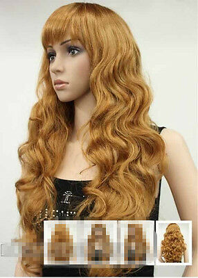 New ladies wig Ginger Blonde Long curly Wavy High quality Full Wigs+ Wig Cap