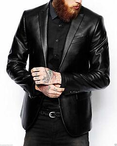 To Menns ekte Fit Coat knapp Jacket Leather Real Blazer Lambskinn Slim Yww4Hg