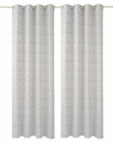 Vorhang 2 Stück MY HOME 245 x 140 lila silber Jacquard Dekostore Ösen blickdicht