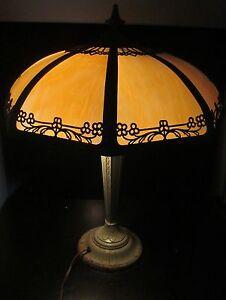 ART-NOUVEAU-ANTIQUE-SLAG-GLASS-LAMP-IN-ORIGINAL-VERDIGRIS-PAINT-SIGNED-RANARD