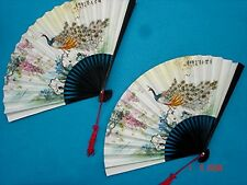 2 JAPANESE PEACOCK PAPER BLACK HAND FAN DANCE CHINESE BIRTHDAY WEDDING PARTY