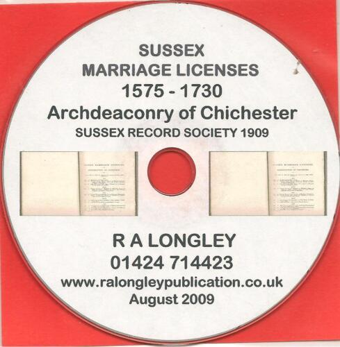 CD Sussex Marriage Licenses 1575-1730