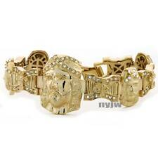 "GOLD PLATED MICRO PAVE SIMULATED DIAMOND 8.5"" JESUS PRAY HAND BRACELET KB031G"