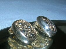 Beautiful Sterling Silver Marcasite Earrings ~ clip on non-pirced ears 925 stamp