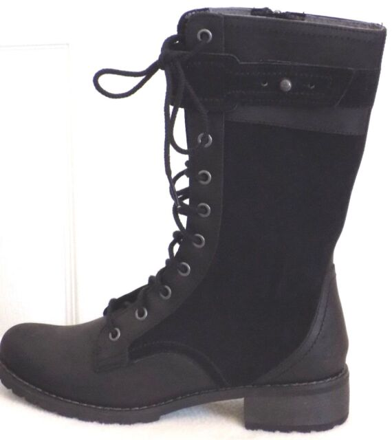 Timberland Women s Wenham Mid Lace up Black Leather Combat BOOTS Style  A110v 6.5 0280d95ba