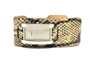 New-Fossil-Gunmetal-Finish-Women-Watch-Snakeskin-Print-Leather-Band-5-ATM