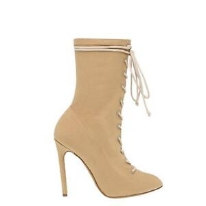 966461c086e1f Yeezy Season 4 Canvas Stretch Lace Up Tie Ankle Boots Shoes Heels ...