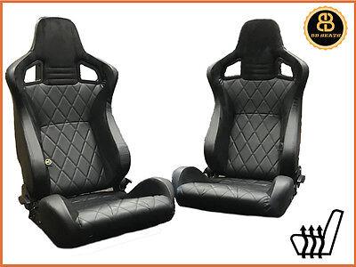 BB6 verstellbarer Eimer Sitze schwarz / Diamant Naht Alcantara universell