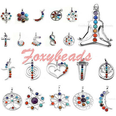 HOT 7 Gems Beads Chakra Healing Point Chakra Reiki Pendant fit Necklace DIY Gift