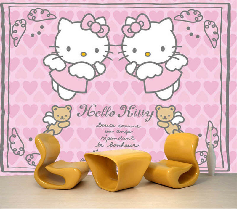 Kind Kitty Cartoon 3D Full Wall Mural Photo Wallpaper Printing Home Kids Decor
