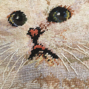 Needlepoint-Cat-Pet-Kitten-Accent-Pillow-Cover-White-Persian-Wool-Vintage