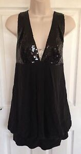 GLAM-BY-CAPRICE-ladies-black-sequin-silk-dress-size-10