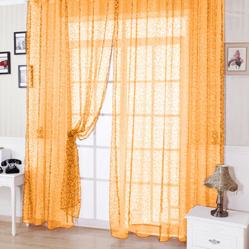 #QZO Door Window Curtain Plant Floral Pattern Sheer Voile Tulle Drape Valances