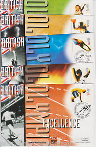 Mercury-1996-British-Olympic-Excellence-Covers-Olympics-SET-OF-5-FDC-GB