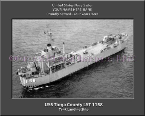 USS Tioga County LST 1158 Personalized Canvas Ship Photo Print Navy Veteran Gift