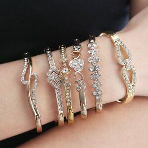 Acier Inoxydable Or Cristal Chaîne Bracelet Femmes Charme Cuff Bangle Nouveau Bijoux