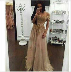 Gold Appliques Off Shoulder Celebrity Pageant Gown Lace Evening