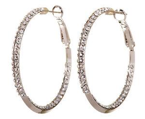 Swarovski-Elements-Crystal-1-1-2-034-Baha-Hoop-Earrings-Rhodium-Authentic-New-7213z